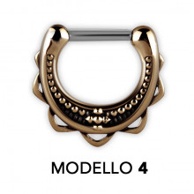 TRIBAL BRASS SEPTUM CLICKERS MODEL 4