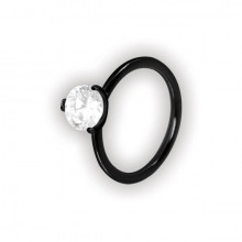 BK 316 STEEL RING W/ROUND CRYSTAL STONE